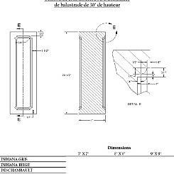 Balustrade Caisson de coin moulure ou dextremites de balustrade de 30 pouces de hauteur