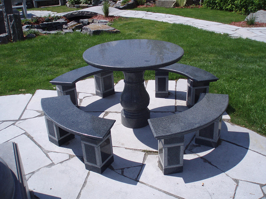 Table et banc de granite pierres technoprofil for Table et banc