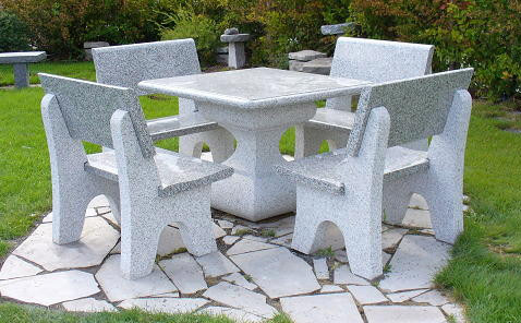 Table et banc de granite pierres technoprofil for Table jardin en pierre